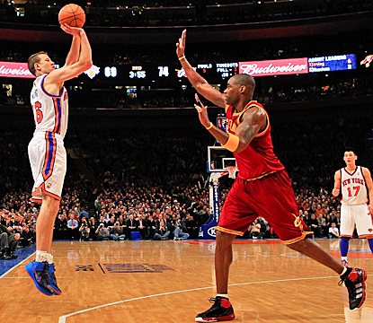 Steve Novak fires from beyond the arc for three of his 17 points off the bench for the Knicks. (Getty Images)