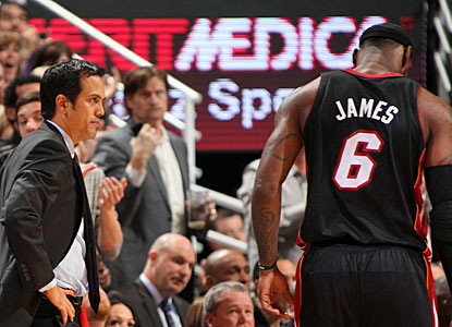Neither coach Erik Spoelstra, nor Lebron James, who scores 35 points, are pleased with the outcome in Salt Lake City. (Getty Images)