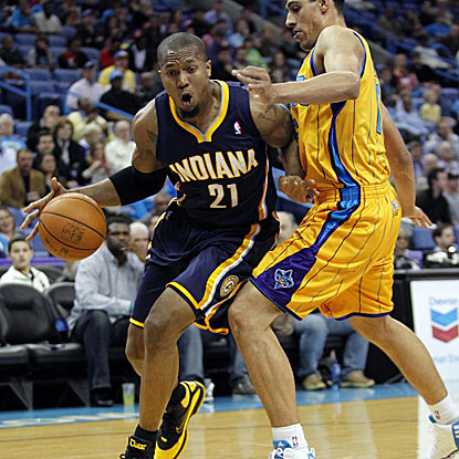 The Pacers' David West, who spent eight seasons as a Hornet, scores 14 points in his first game back to New Orleans.  (US Presswire)
