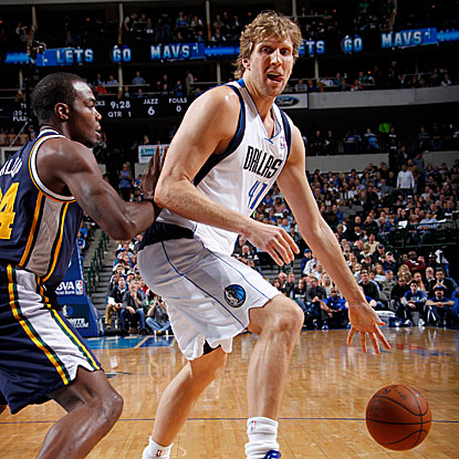 Dirk Nowitzki scores a season-high 40 points for the Mavericks as they defeat the Jazz and snap a four-game losing skid. (Getty Images)