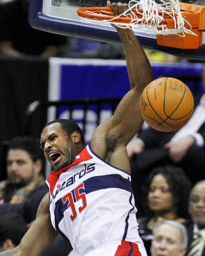 Trevor Booker (18 points, 17 rebounds) and the Wizards use a big second-half rally to slam home a win against the Lakers. (AP)
