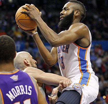 James Harden scores a career-best 30 points off the bench as the Thunder rally from 16 points down. (AP)
