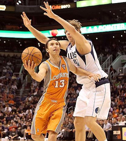 Steve Nash drives around (and under) Dirk Nowitzki during an 11-point, 11-assist performance.  (Getty Images)