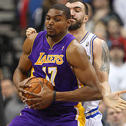 Andrew Bynum scores 26 points and  grabs 10 rebounds as the Lakers defeat the Wolves for the 18th straight time.  (AP)