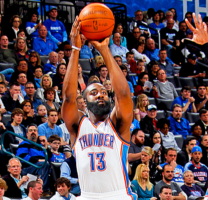 James Harden helps the Thunder bounce back from a loss against the Cavs with a career-high 33 points against the Bobcats. (Getty Images)