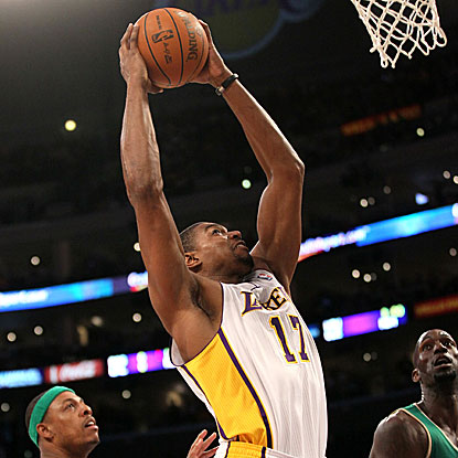 Andrew Bynum scores 20 points and grabs 14 rebounds as the Lakers overcome a late five-point deficit to beat the Celtics.  (Getty Images)