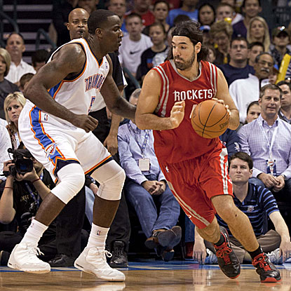 Luis Scola (right) scores 18 points as the Rockets rally from an 11-point deficit in the final 3 minutes to beat the Thunder.  (US Presswire)