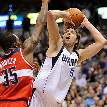 Dirk Nowitzki scores a game-high 27 points in the Mavericks' win over the Wizards.  (US Presswire)