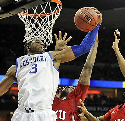 Terrence Jones scores 22 points and grabs 10 rebounds as Kentucky cruises in the round of 64.  (US Presswire)