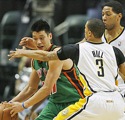The Pacers keep their focus on slowing down Jeremy Lin, who finishes with 19 points, seven rebounds and six assists. (US Presswire)