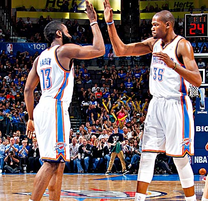 James Harden and Kevin Durant combine for 40 points as the Thunder restore their home-court dominance.  (Getty Images)
