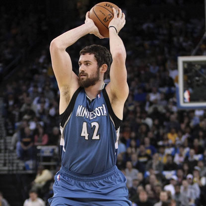 The Timberwolves' Kevin Love scores 36 points and grabs 17 rebounds for his 39th double-double of the season.  (US Presswire)