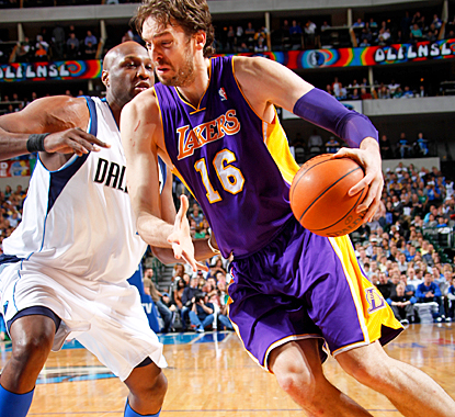 Pau Gasol helps the Lakers end their two-game road trip with a win by scoring 27 points against the Mavericks. (Getty Images)