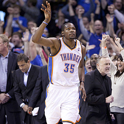 Kevin Durant adds 40 points in the Thunder's win, including a three-pointer to send the game in to its second overtime. (US Presswire)