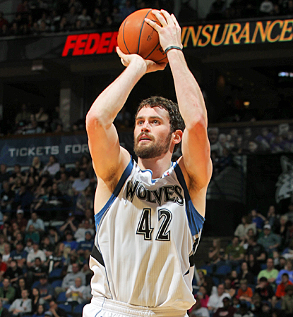 Kevin Love comes up huge once again for the Timberwolves, scoring 30 points with 21 rebounds against the Nuggets. (Getty Images)