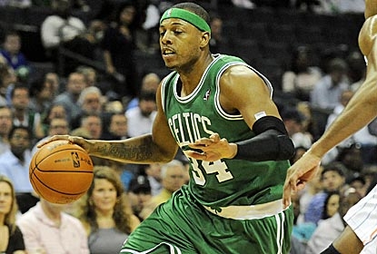 Paul Pierce scores a season-high 36 points as the Celtics move into a first-place tie with the 76ers.  (US Presswire)