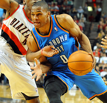 Russell Westbrook guides the Thunder to their fourth straight win with 32 points and eight assists against the Trail Blazers. (US Presswire)