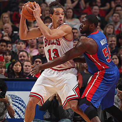 Joakim Noah contributes 19 points and 12 rebounds as the Bulls win and improve to a league-best 42-11. (Getty Images)