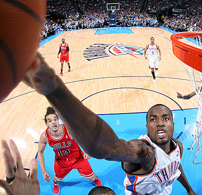 Serge Ibaka is a beast in the paint, with five of the Thunder's nine blocked shots vs. the Bulls. (Getty Images)