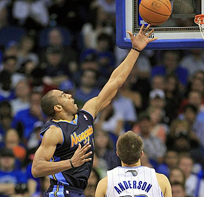 Arron Afflalo scores 22 points as the Nuggets shoot a blistering 56 percent from the field.  (AP)