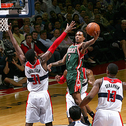 Brandon Jennings scores 17 of his team-high 19 points in the third quarter to lead the Bucks past the Wizards.  (Getty Images)