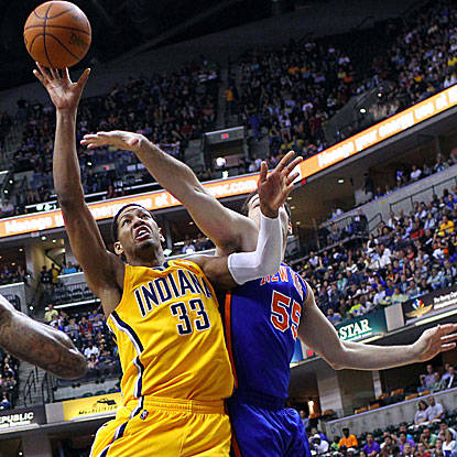 Danny Granger scores 14 of his 27 points in the fourth quarter as the Pacers overcome a 17-point deficit to beat the Knicks.  (US Presswire)
