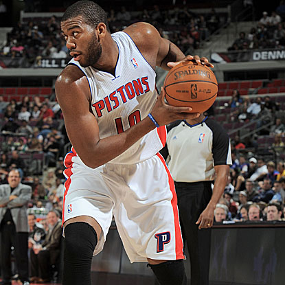 Greg Monroe leads the Pistons with 22 points and 11 rebounds in their victory over the Magic.   (Getty Images)