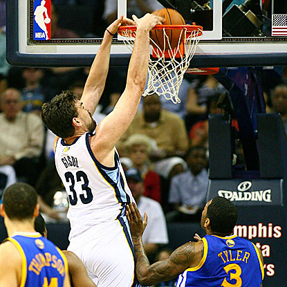 Marc Gasol scores 12 points and tallies a game-high six assists in the Grizzlies' win against the Warriors.   (US Presswire)