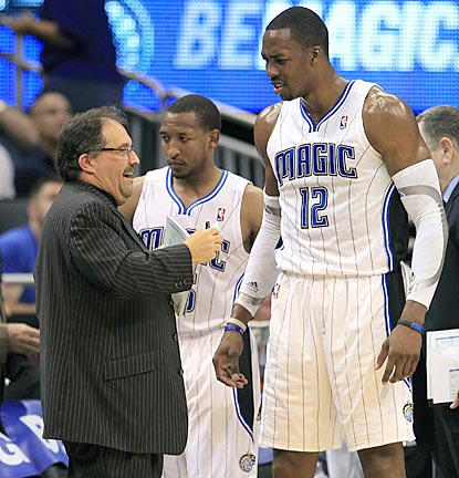 After some awkward moments earlier in the day, Stan Van Gundy and Dwight Howard endure a less-than-stellar effort vs. New York. (AP)