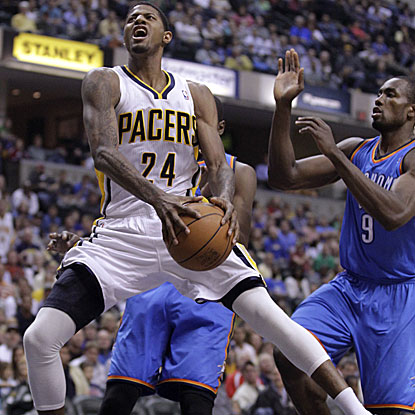 Paul George grabs a career-high 16 rebounds in the Pacers' victory over the Thunder.  (AP)
