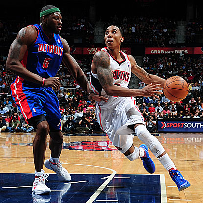 Jeff Teague scores 24 points and tallies a season-high 11 assists in the Hawks' victory against the Pistons.  (Getty Images)