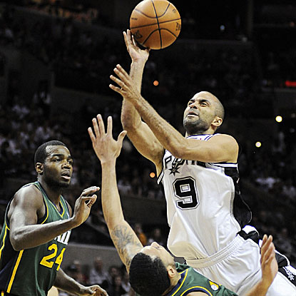 Tony Parker's game-high 28 points lead the Spurs over the Jazz, keeping them atop the Western Conference.  (AP)