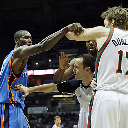 The Thunder's victory over the Bucks featured seven technical fouls and one ejection.  (AP)