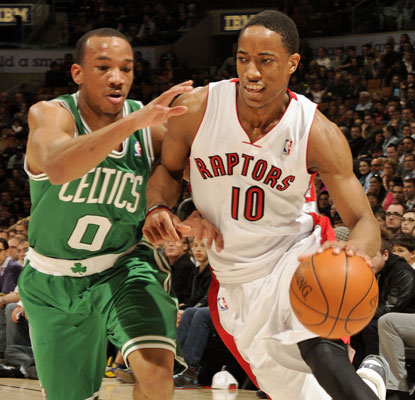 DeMar DeRozan scores 22 points for the short-handed Raptors, ending a four-game losing streak by beating the Celtics.  (Getty Images)