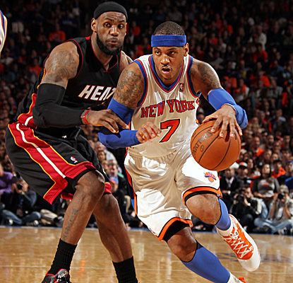 Melo, who finishes with 42 points, makes just two baskets in the fourth quarter as the Knicks see their home win streak end. (Getty Images)