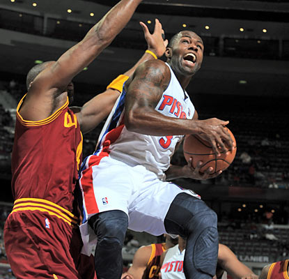 Rodney Stuckey and the Pistons take a 100-50 lead into the third quarter against the struggling and banged-up Cavaliers. (Getty Images)