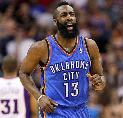 James Harden (career-high 40 points) and the Thunder crash down on the Suns and deal a blow to their playoff chances. (AP)