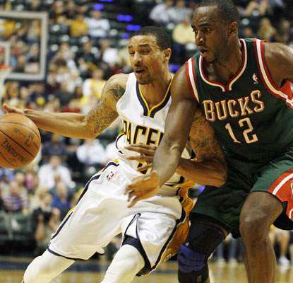 George Hill makes his case to start at point guard with 22 points and eight assists against the Bucks.  (US Presswire)