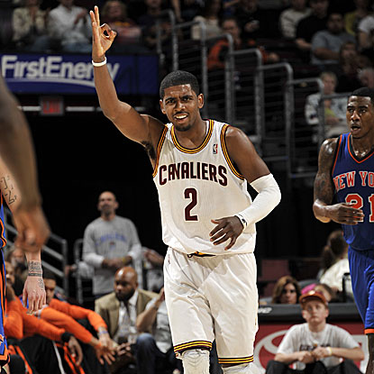 The Cavs' Kyrie Irving scores a game-high 21 points in his second game back from a shoulder injury. (Getty Images)