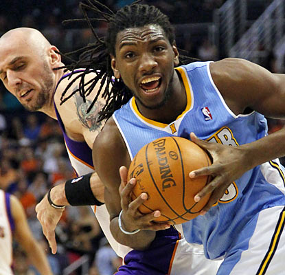 Small forward Kenneth Faried (16 points) is one of six Nuggets to finish the game with double figures. (AP)