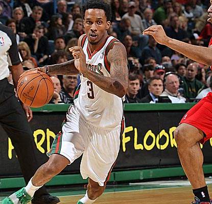 Point guard Brandon Jennings explodes for 30 points, one of five Bucks to score in double digits.  (Getty Images)