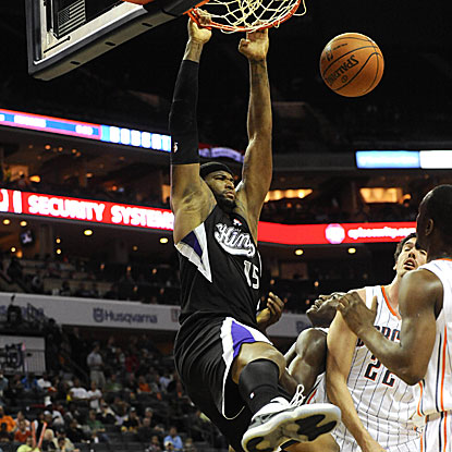DeMarcus Cousins scores a game-high 29 points as the Kings beat the Bobcats, their 20th consecutive defeat.  (US Presswire)