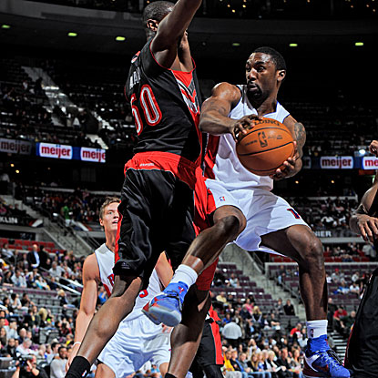 Ben Gordon scores 19 points off the bench, including a 3-pointer to break a late tie and lead the Pistons past the Raptors.  (Getty Images)