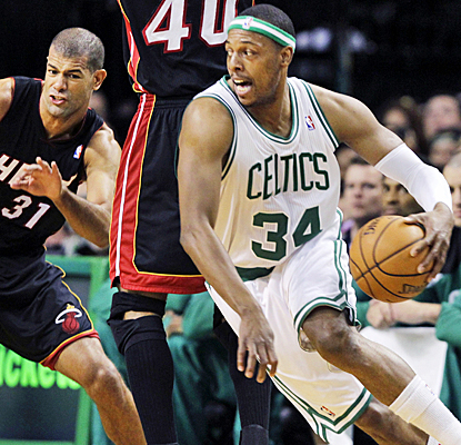 In a game dominated by bench players, Paul Pierce finds time to score eight points in 18 minutes of work. (AP)