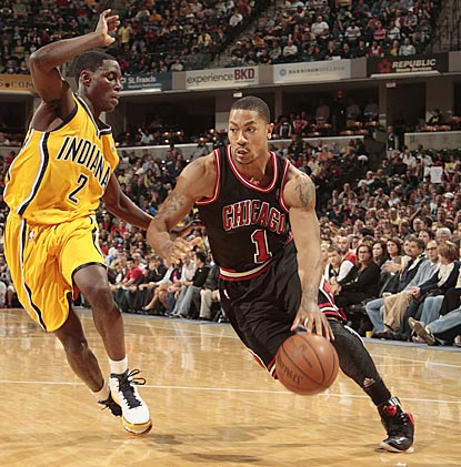 Derrick Rose, trying to get back into franchise-player form, drives against Indiana's Darren Collison.  (Getty Images)