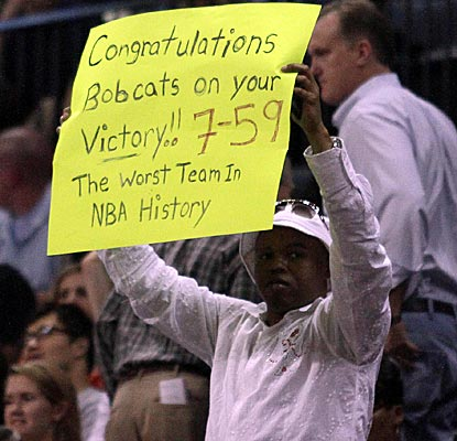 The Bobcats lose their final 23 games to finish the season with the worst winning percentage in NBA history.  (US Presswire)