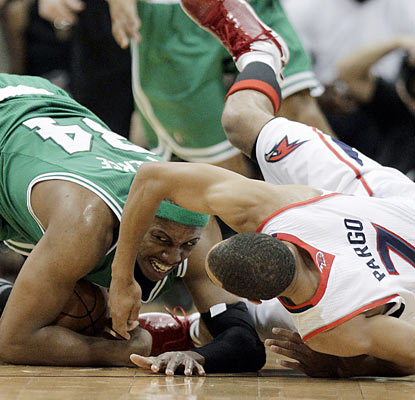 Paul Pierce and the Celtics fail to escape the Hawks' grasp in Game 1, from start to finish. (AP)