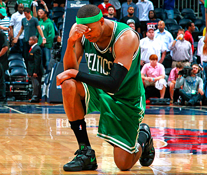 Paul Pierce Tebows after the Celtics pull even in their series with a win in Game 2 over the Hawks. (Getty Images)