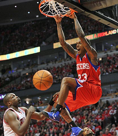 Lou Williams dunks during a dominant second half for the eighth-seeded Sixers, who return to Philly with homecourt advantage.  (US Presswire)