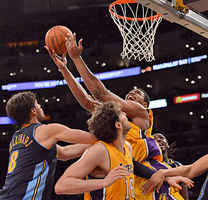 Andrew Bynum follows his Game 1 triple-double with 27 points and nine rebounds in the second victory. (Getty Images)